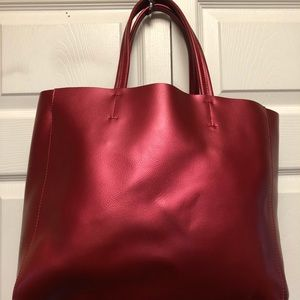 Red Metallic Leather Tote